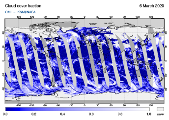 OMI - Cloud cover fraction of 06 March 2020