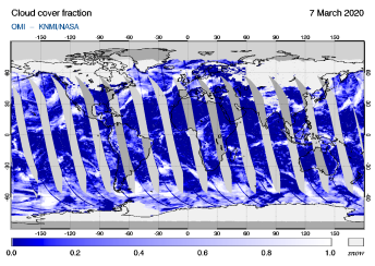 OMI - Cloud cover fraction of 07 March 2020