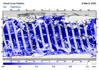 OMI - Cloud cover fraction of 08 March 2020