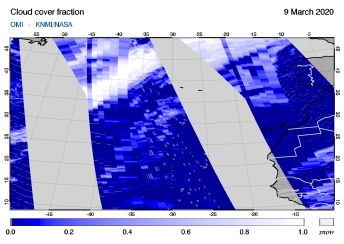 OMI - Cloud cover fraction of 09 March 2020