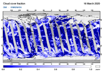OMI - Cloud cover fraction of 16 March 2020