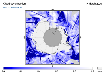 OMI - Cloud cover fraction of 17 March 2020
