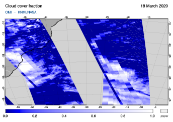 OMI - Cloud cover fraction of 18 March 2020