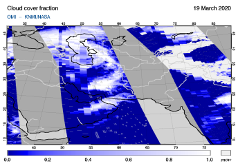 OMI - Cloud cover fraction of 19 March 2020