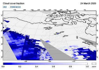 OMI - Cloud cover fraction of 24 March 2020