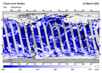 OMI - Cloud cover fraction of 25 March 2020
