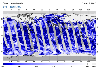 OMI - Cloud cover fraction of 26 March 2020