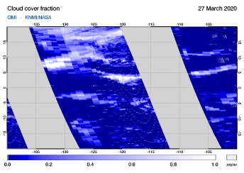 OMI - Cloud cover fraction of 27 March 2020