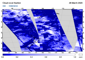 OMI - Cloud cover fraction of 28 March 2020