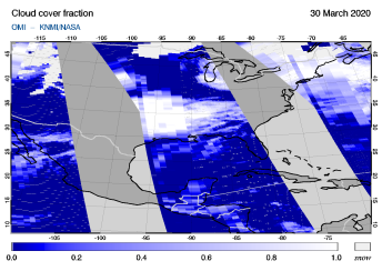 OMI - Cloud cover fraction of 30 March 2020