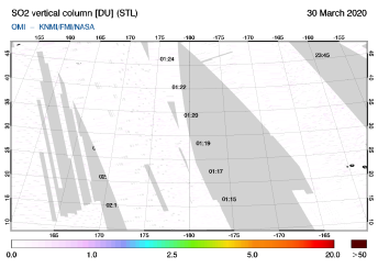 OMI - SO2 vertical column of 30 March 2020