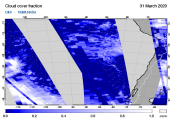 OMI - Cloud cover fraction of 31 March 2020