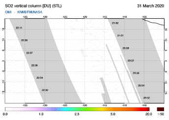 OMI - SO2 vertical column of 31 March 2020
