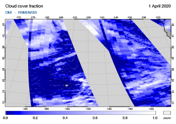 OMI - Cloud cover fraction of 01 April 2020
