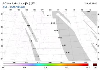 OMI - SO2 vertical column of 01 April 2020