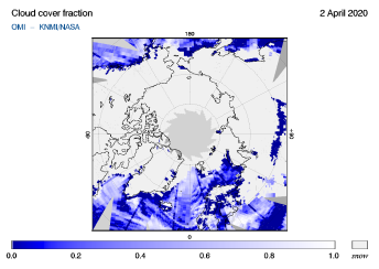 OMI - Cloud cover fraction of 02 April 2020