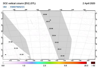 OMI - SO2 vertical column of 02 April 2020