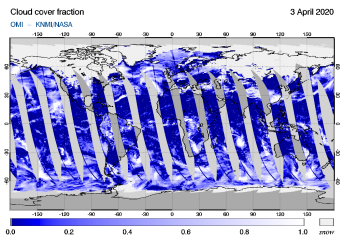 OMI - Cloud cover fraction of 03 April 2020