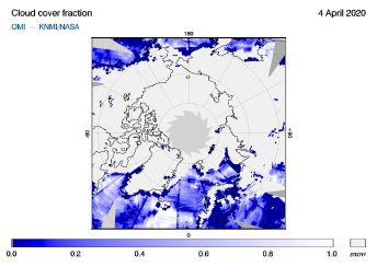 OMI - Cloud cover fraction of 04 April 2020