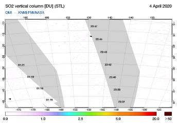 OMI - SO2 vertical column of 04 April 2020