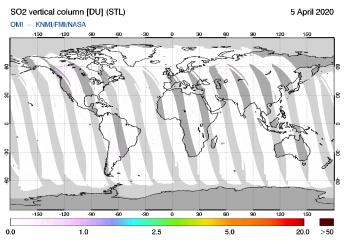 OMI - SO2 vertical column of 05 April 2020