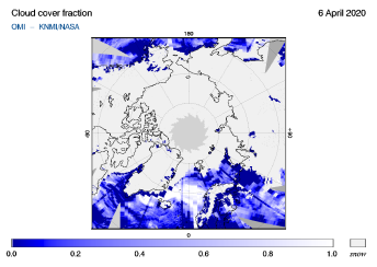 OMI - Cloud cover fraction of 06 April 2020