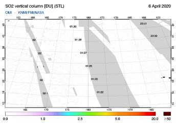 OMI - SO2 vertical column of 06 April 2020
