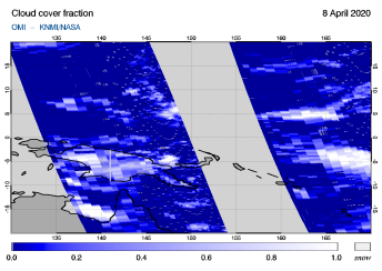 OMI - Cloud cover fraction of 08 April 2020