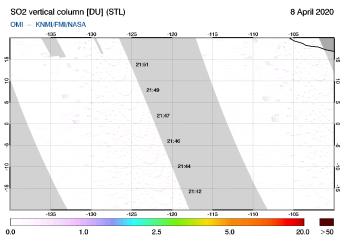 OMI - SO2 vertical column of 08 April 2020