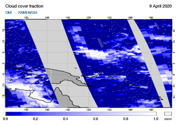 OMI - Cloud cover fraction of 09 April 2020