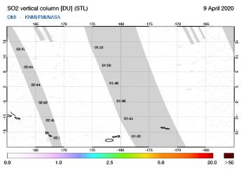 OMI - SO2 vertical column of 09 April 2020