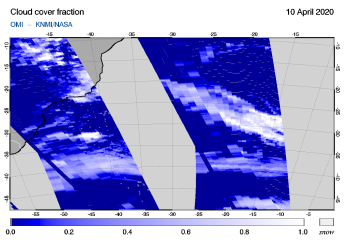 OMI - Cloud cover fraction of 10 April 2020