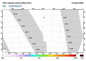 OMI - SO2 vertical column of 10 April 2020