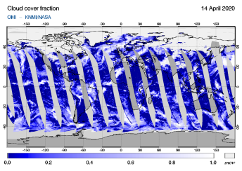 OMI - Cloud cover fraction of 14 April 2020