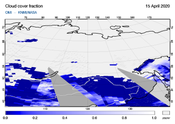 OMI - Cloud cover fraction of 15 April 2020