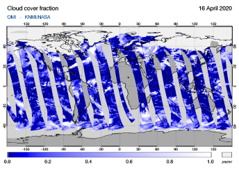 OMI - Cloud cover fraction of 16 April 2020