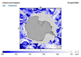OMI - Cloud cover fraction of 18 April 2020