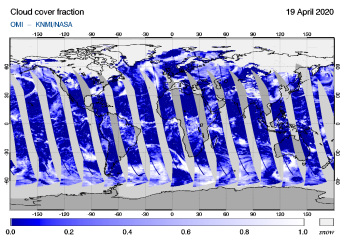 OMI - Cloud cover fraction of 19 April 2020