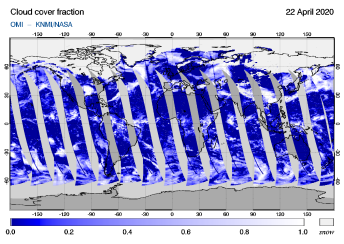 OMI - Cloud cover fraction of 22 April 2020