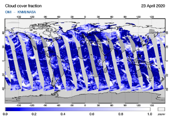 OMI - Cloud cover fraction of 23 April 2020