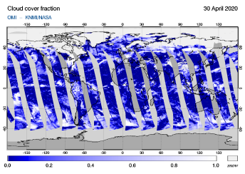 OMI - Cloud cover fraction of 30 April 2020