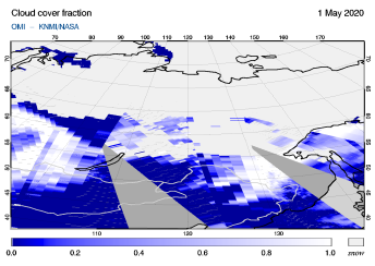 OMI - Cloud cover fraction of 01 May 2020