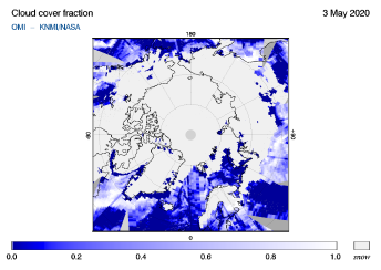 OMI - Cloud cover fraction of 03 May 2020