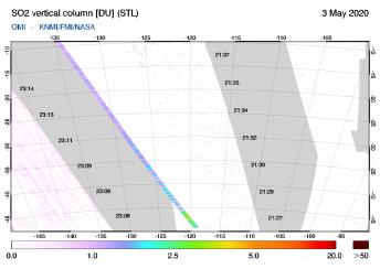 OMI - SO2 vertical column of 03 May 2020