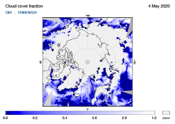 OMI - Cloud cover fraction of 04 May 2020