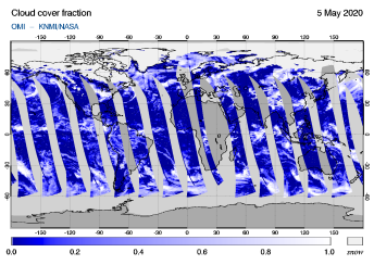 OMI - Cloud cover fraction of 05 May 2020