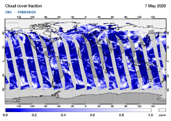 OMI - Cloud cover fraction of 07 May 2020