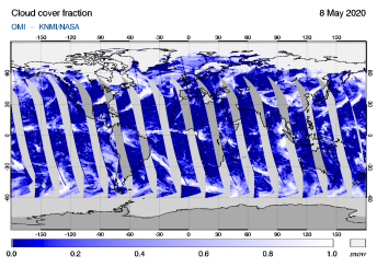 OMI - Cloud cover fraction of 08 May 2020