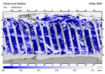 OMI - Cloud cover fraction of 09 May 2020