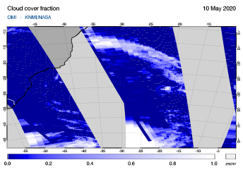 OMI - Cloud cover fraction of 10 May 2020